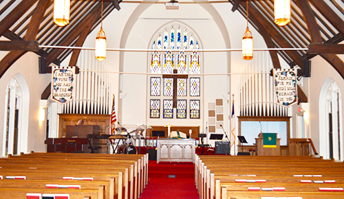 picture of church sanctuary today - church history page of first baptist church of kennett square, pa's website